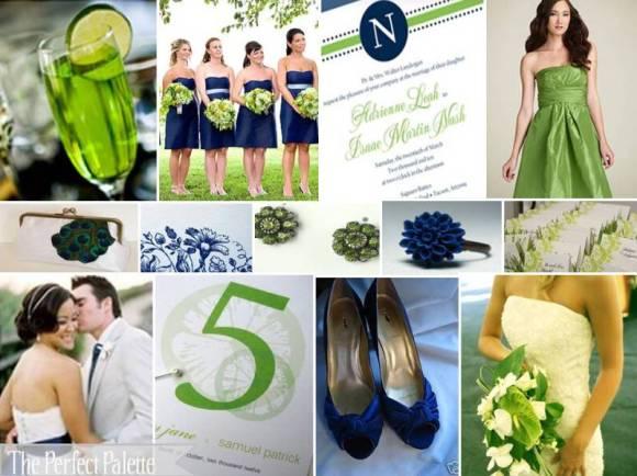 navy lime wedding color palette